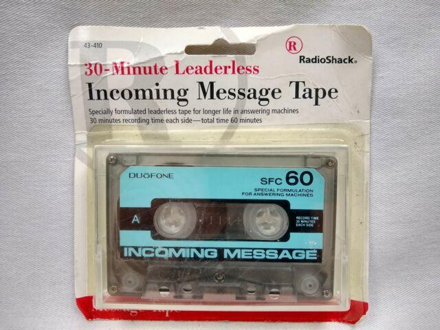 30-Minute Leaderless Answering Machine Cassette Tape ~ RadioShack 43-410