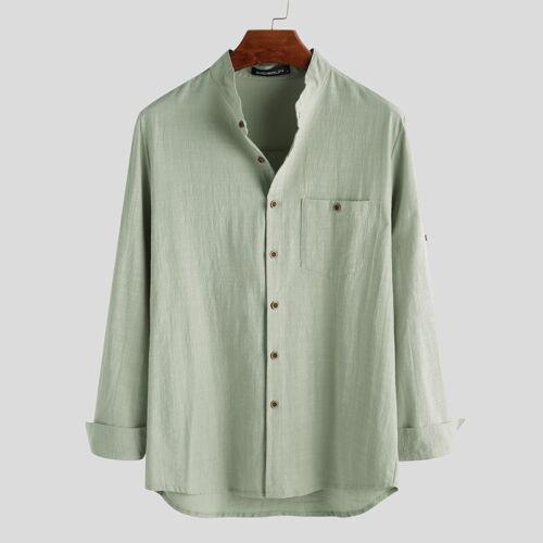 Men/'s Long Sleeve Retro Casual Blouse Collarless Grandad Button Shirts Tee Tops