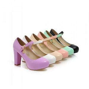Womens-Candy-Colors-Mary-Janes-Round-Toe-Lolita-Chunky-Block-Heels-Party-Shoes