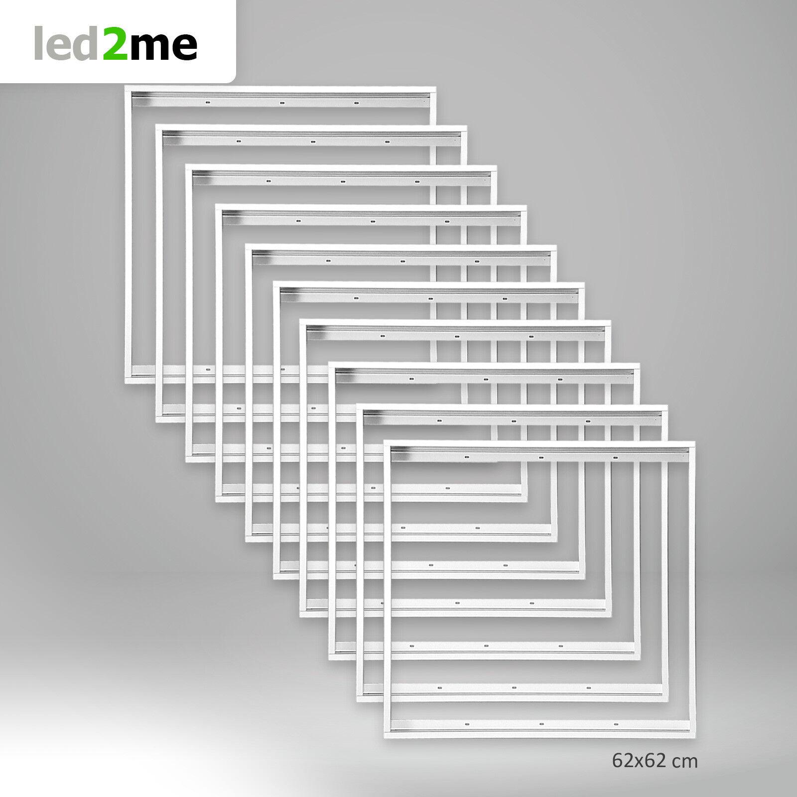 10x Xtend LED Panel Rahmen 62x62cm 620x620mm Farbe Weiß Aufbaurahmen Alu