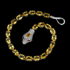 Sterling Silver 925 Genuine Natural Golden Citrine Snake Design Bracelet 8 Inch