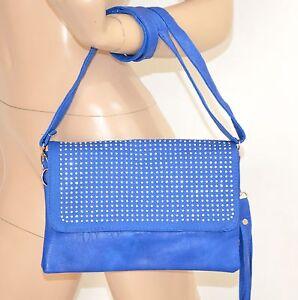 BORSELLO-BLU-pochette-donna-borsa-pelle-strass-chiodini-argento-clutch-bag-40X