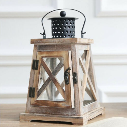 Wood Candlestick Candle Holder Lantern Lamp for Home Wedding Xmas Decoration