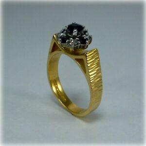 Vintage-Sapphire-amp-Diamond-18ct-Gold-Cluster-Ring