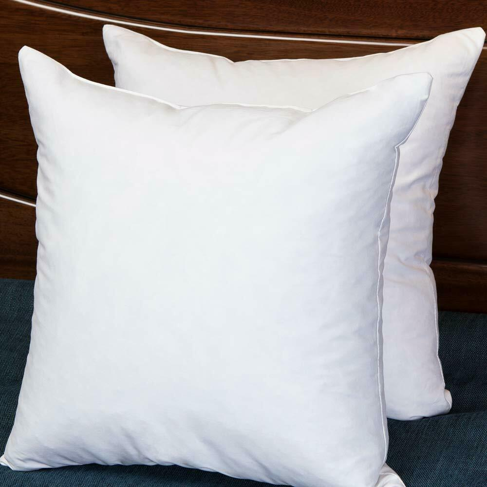 22x22 Decorative Throw Pillow Inserts-Down Feather Pillow Inserts-Square-Cotton Fabric-Set of 2-White.