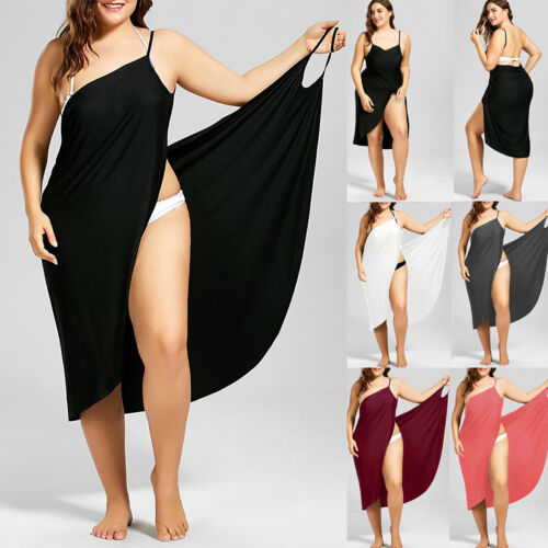 Übergröße Damen Bademode Bikini Cover Up Sommer Strandkleid Wickel Minikleid 48