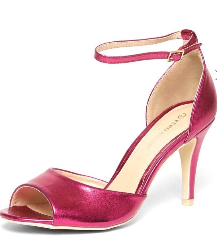 Vero Moda Heeled - 'Rio' Pink Metallic Heeled Moda Sandals - Size 5 - BNWT 06afec