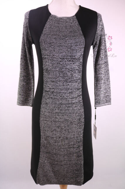 5cd05a53 Calvin Klein New 3/4 Sleeve Ribbed Sweater Dress CD6W1W9F Black/Grey Size S
