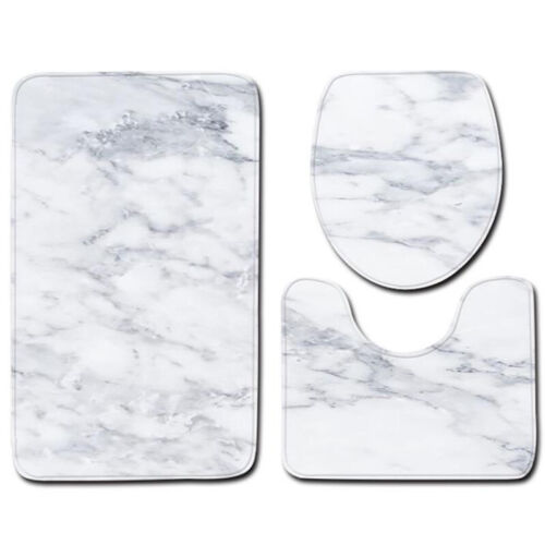 Marble Contour Bath Mat Nonslip Pedestal Toilet Lid Carpet Bathroom Rug 3Pcs Set