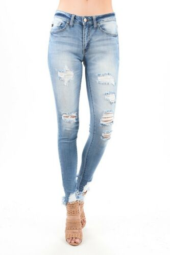 NWT KanCan Size 3 /& 5 Destroyed Skinny Full Length Ankle Jeans