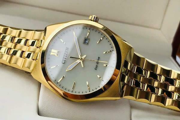 Citizen Eco Drive EW2292-67P Gold Dial Stainless Steel Date Analog Ladies Watch