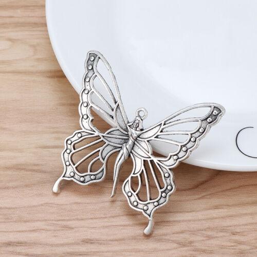 5 x Antique Silver Large Goddess Nouveau Butterfly Fairy Charms Pendants 59x58mm