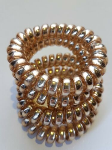 4 Large Thick Gold Coloured Spiral Hair Band Hairbands Bobbles Stretchy