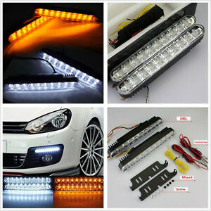 2-X-30LED-Dual-Color-6700K-Car-Autos-Daytime-Running-Lights-DRL-Turning-Signal