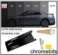 CAR BUS OFFICE BUS WINDOW TINT FILM TINTING ULTRA DARK BLACK LIMO 1% 76cm x 3M
