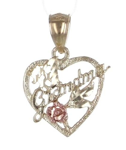 """10k Two-Tone Gold Solid /""""#1 Grandma/"""" with Flower Heart Charm Pendant 0.9g"""