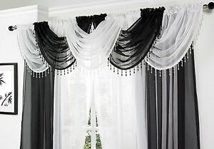 SPARKLY-CRYSTAL-BEADED-DROPLETS-TRIMMED-SOFT-VOILE-NET-CURTAIN-SWAG-5-95-EACH