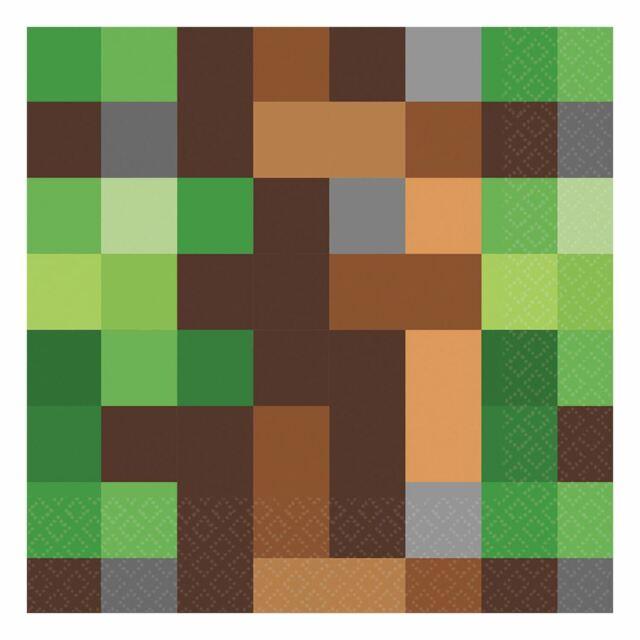 16pk Juego de píxeles de TNT Papel Servilletas 33cm inspirado en Minecraft Fiesta De Cumpleaños