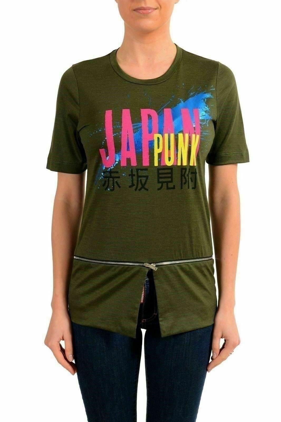 Dsquarot2 Damen 100% Wolle Grün Grafik Kurzarm T-Shirt Us XS es 38