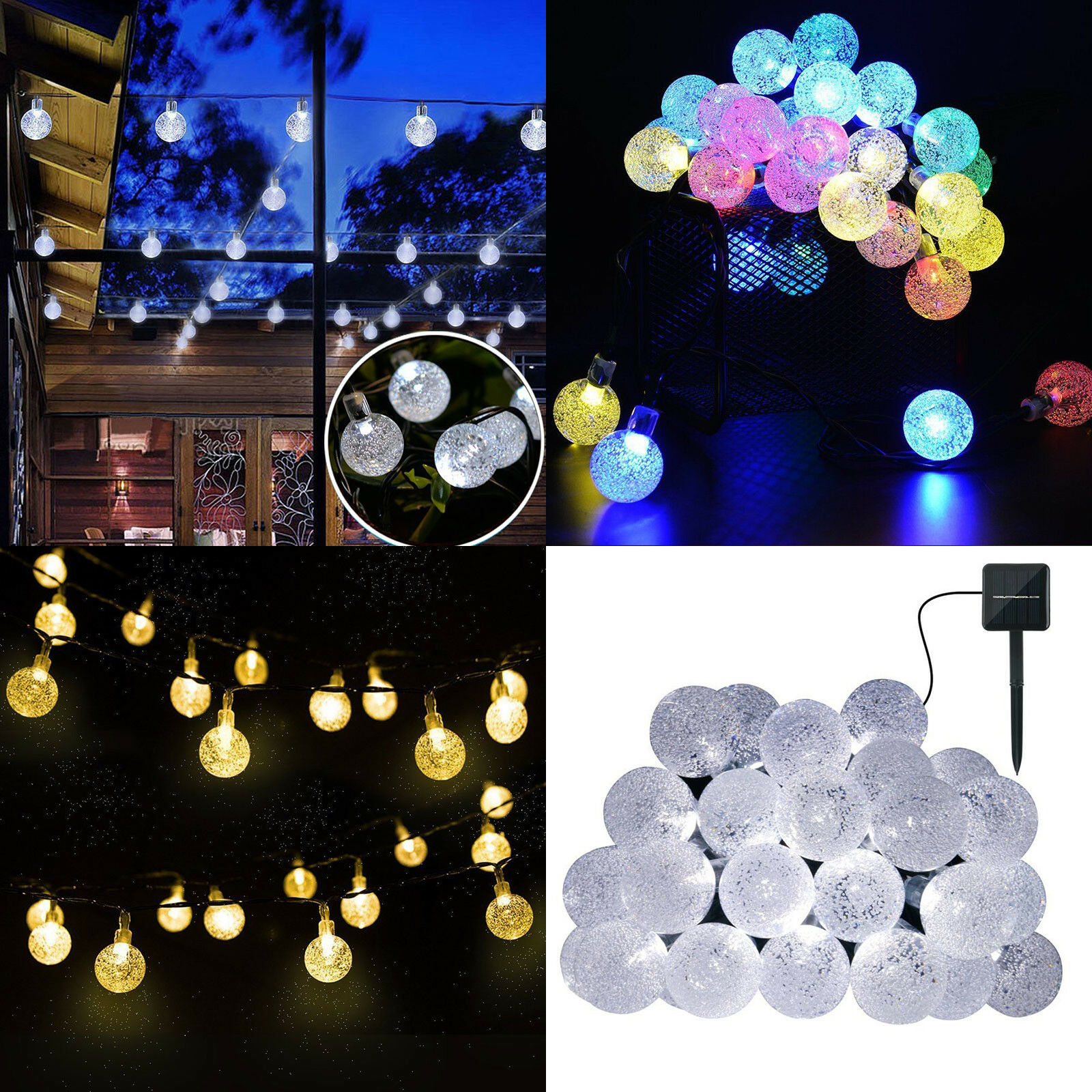 Solar Powered String Lights LED Outdoor Crystal Balls New Year