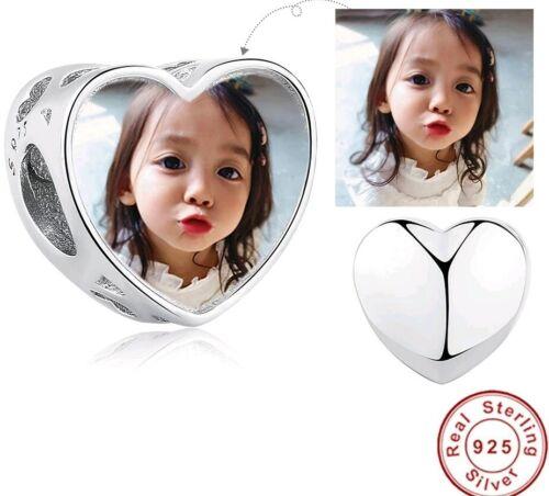 Personalised Heart Photo Charm 925 Sterling Silver Bead Bracelet Custom Child