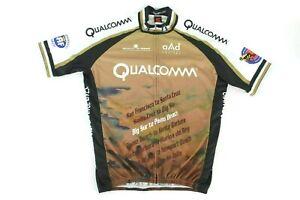 Squadra-Qualcomm-Cycling-Racing-Jersey-L-Brown-Graphic-Full-Zip-2009-Big-Sur