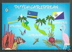 Map Postcard Dutch Caribbean Aruba Curacao Bonaire Flags Antillen - Caribbean map aruba