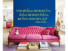 A WISE GIRL MARILYN MONROE Wall Art Decal Lettering Words Sticker Home Decor 24""