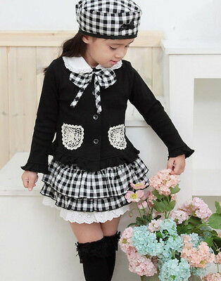 Baby Girl Kids Cap Hat+Top+Skirt Coat Plaids Dress Clothes Outfit Suit Set 1-6Y