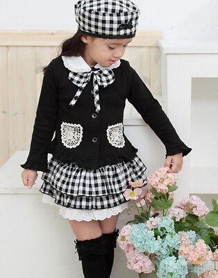 Baby Girl Kids Cap Hat+Top+Skirt Coat Plaids Dress Clothes Outfit Suit Set 1-6Y