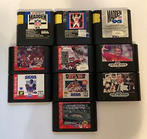 Sega Genesis 10 Sports Game Lot - Tested - Free Shipping (USA)