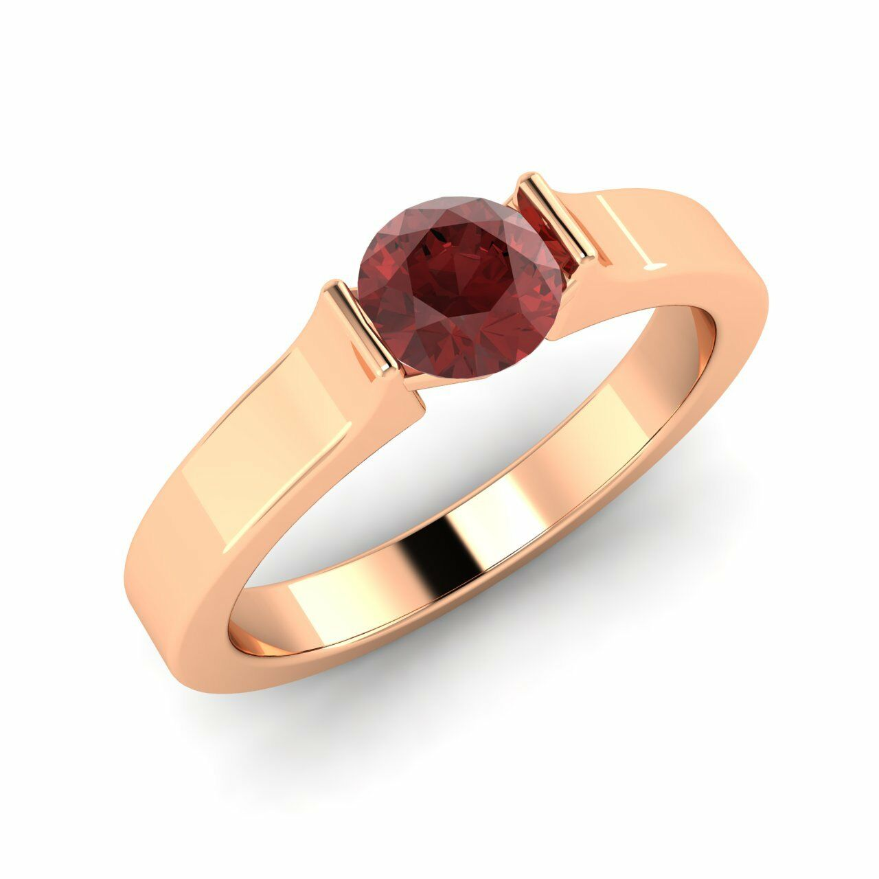 Certified 0.53 Cts Natural Garnet Solitaire Engagement Ring In 14K pink gold