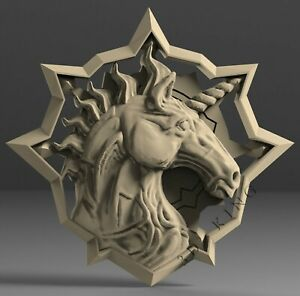 3D-Stl-Modell-Einhorn-Kopf-fuer-CNC-Aspire-Artcam-3D-Drucker-Gravur