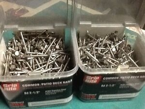 """10 Lbs. Grip Rite Common/Patio Deck stainless steel 8d 2-1/2"""" Nails Ring Shank"""