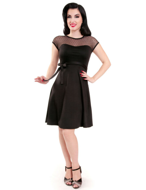 Rock Steady 60s Pin Up Sheer Lace Polka Dot Little Black Dress Ebay