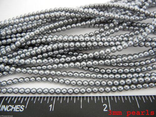 Cristal Checo Redondo Imitación Perlas Sueltas Gris Plata Nácar Perla 2-3-4-6-8-10mm