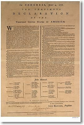 U.S. Declaration of Independence - NEW Vintage Reproduction History POSTER