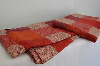 Throw Red Cream Square Blanket Ribbed Cotton King Bed Cover 260cm x 240cm Soft