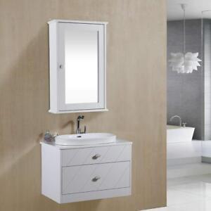 Armadietto-a-specchio-Mobile-pensile-da-bagno-2-ripiani-portaoggetti-Bianco