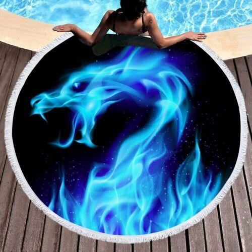 Beautiful Thick 220g  Blue flame dragon design round beach towel 150cm  DZ662