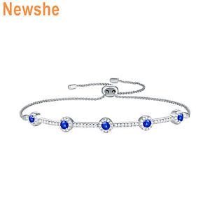 Newshe-Adjustable-Chain-Bracelet-For-Women-925-Sterling-Silver-Round-Blue-Cz
