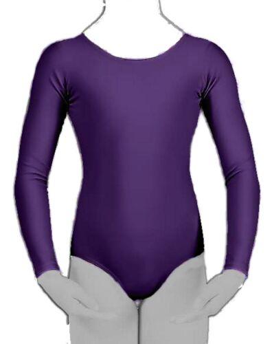 Ragazze Leotard ginnastica danza Ballet School Uniform Maniche Lunghe Lycra 3-14 Anni