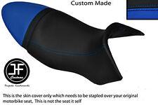 BLACK & ROYAL BLUE VINYL CUSTOM FITS BUELL XB9S LIGHTNING 04-09 DUAL SEAT COVER