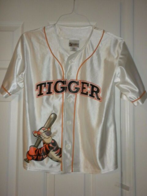 Girls Boys L 10 12 White Tigger Baseball Jersey Disney Store 05 Cute! Top Shirt