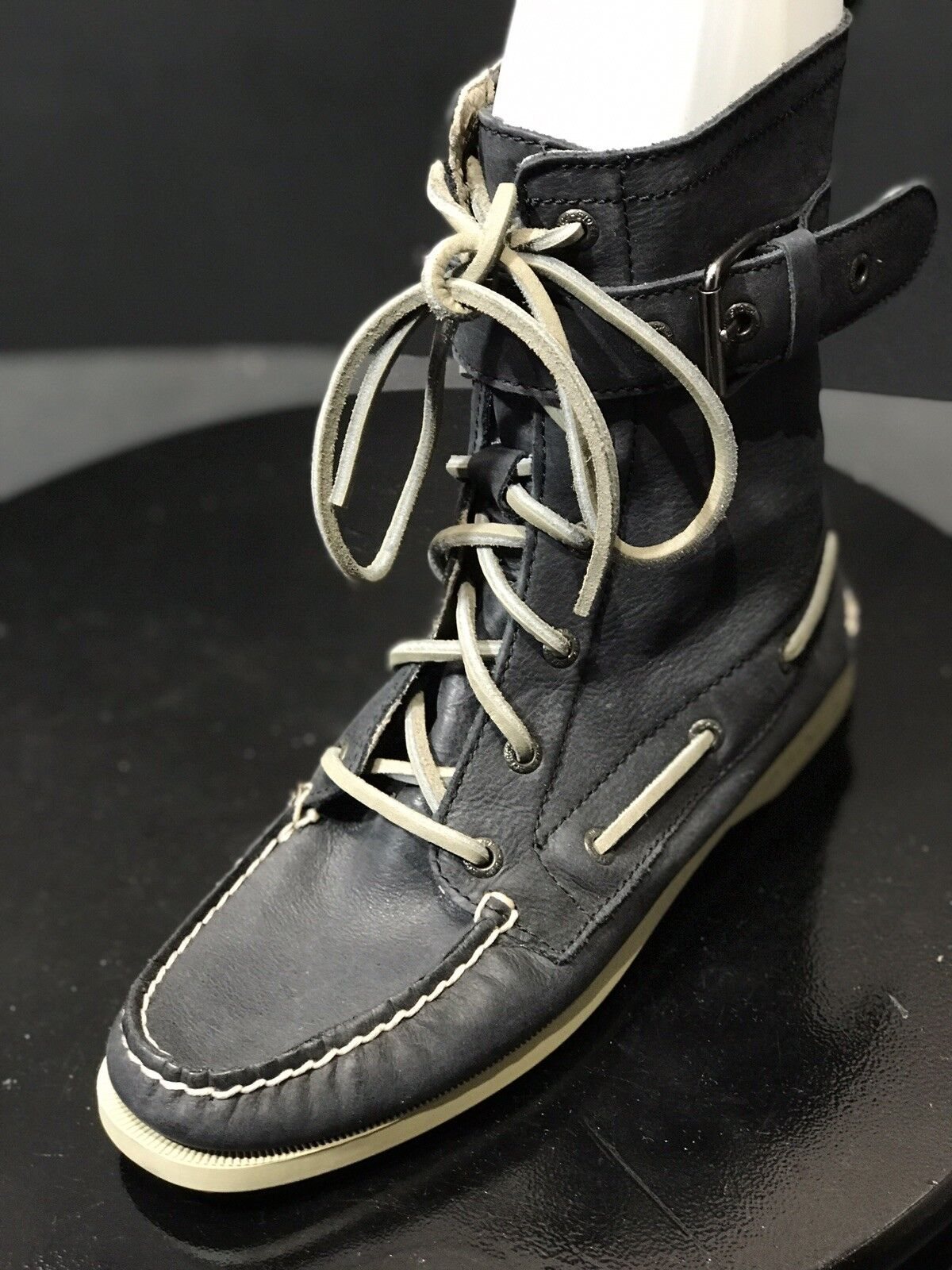 SPERRY TOP-SIDER  Leather Women Size Zipper Lace Boots Size US 6.5 M