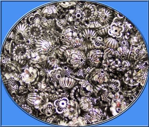 300 perlkappen Mix acrílico plata Antik 6-10 mm de diferentes formas para perlas