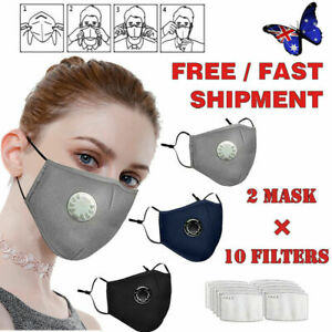 Anti Air Pollution Face Mask Dust Mask Respirator 10 Filters Washable Reusable