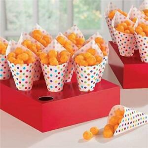 Amscan-42-Rainbow-Buffet-Snack-Cones-with-Tray