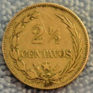 1888-A-Dominican-Republic-2-1-2-Centavos-Silver-Coin-Scarce-KM-7-3