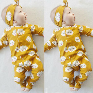 Infant-Newborn-Baby-Girls-Romper-Bodysuit-Jumpsuit-Heaband-Outfits-Clothes-Set